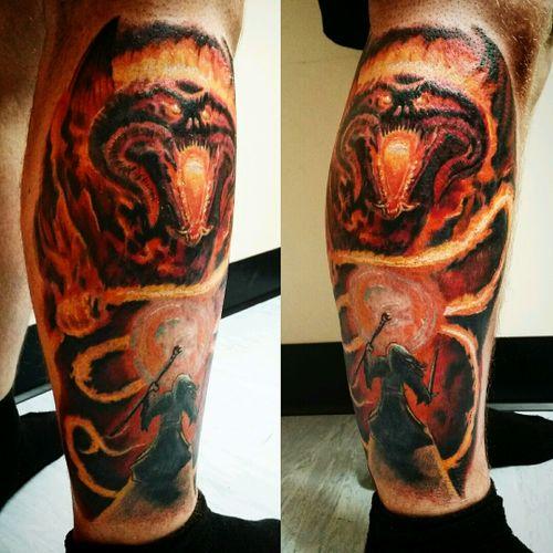 Balrog i done #lotr #LordoftheRingsTattoo #fusionink #eikon #eternalink #liverpooltattoo #tattoodo #tattoo_art_worldwide #uktattooartist #uktta #movietattoo
