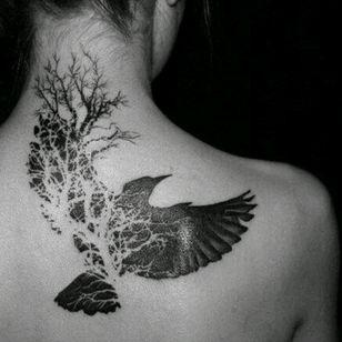 #blackwork #bird #nature