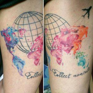 #globe #globetattoo #plane #continents #watercolor #watercolortattoo #quotes #quotetattoo #travel #traveltattoo #traveltattoos #travelertattoo #traveler #worldmap #world #colorful #colorfultattoo #ColorfulTattoos