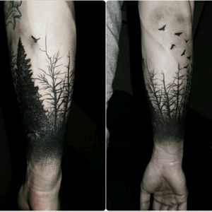 #dreamtattoo #megandreamtattoo #meganmassacrecontest #blackwork #tree #forest #crows #forearm