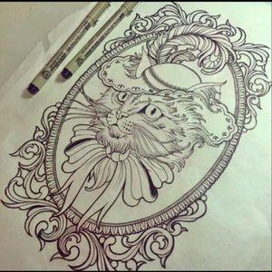 #Design #Cat #Hat #Plume #Bow #Drawing #Blackwork