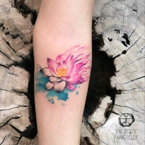 By #lotusflower #watercolor #abstract #watercolortattoo #lotus