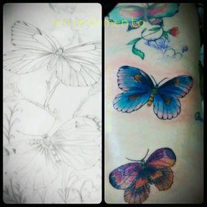 borboletas e muitas cores, obrigada😉 #tattoofeminina #tracosfinos #delicada #tats #tatuaje #flowers #flores #borboleta #colors #tattoocolors #TatuadoraBrasileira #robertamarela #robertanogueira #worktattoo