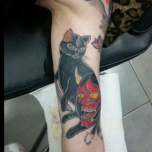 Kitty and hannya! #cattoo #cattattoo #cat #hannyamask #hannyatattoo