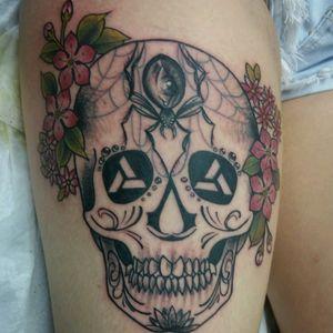 Sugarskull #sugarskull #tattoo #sugarskulltattoo #flowertattoo #spidertattoo