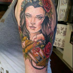 Lady fave #ladyface #womanfacetattoo #lanterntattoo #tattoo #flower #girlytattoo #tattooartist #rose #rosetattoo #girlswithtattoos #flowertattoo #colourtattoo #colortattoos