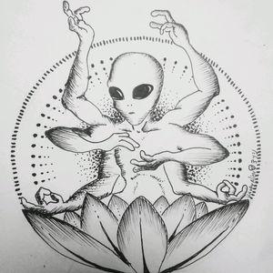 Alien multi limbed  #alien #ufo #meditation #goa #chile #trance #galactic #space #Extraterrestrial #chile #happyalientattoo #artlife #tattoo_artist