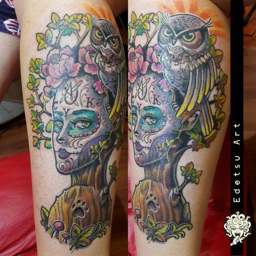 Crazy catrina #catrinatattoo #draw #art #rosetattoo #floral #catrina #owl #owltattoo #freehand