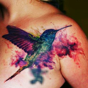 #hummingbird #nature #color #bird #flower #polishartist #beautiful #watercolor #koliber #colortattoo
