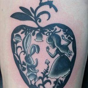 Alice in Wonderland tattoo by Sam Ramsey