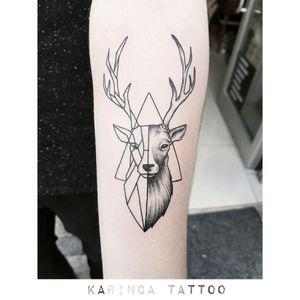 Geometric Deer instagram.com/karincatattoo #deer #geometrictattoo #deertattoo #armtattoo #realistictattoo