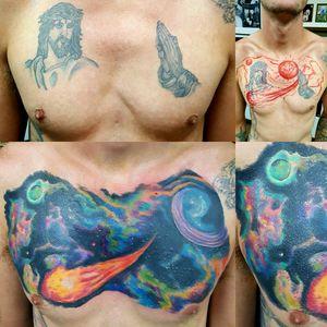 This #coveruptattoo was ridiculous. #space #galaxy #chestpieceprogress #neotat #fusionink #fullcolortattoo #billingsmontanatattoostudio #besttattooshopsinbillingsmontana #camscott