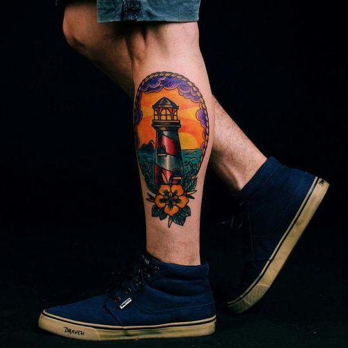 Martin's #traditional_tattoo #lighthouse #trad #vintadostattoo