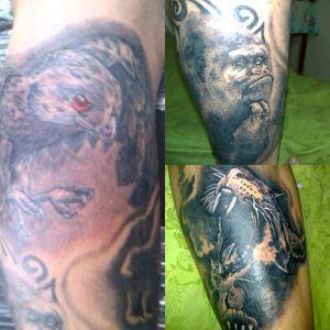 Magia salvaje halcon gorilla y jaguar. Cobertura#theconquerinklion #tattoo #colombiaink