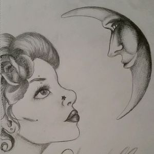 Finally getting back into practicing designs. Still want an apprenticeship, I think once I move to Oregon I'll start looking again xp #tattoodesign #practicemakesperfect #moontattoo