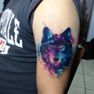 By #AdrianBascur #watercolor #wolf #galaxy #space #watercolortattoo #wolftattoo