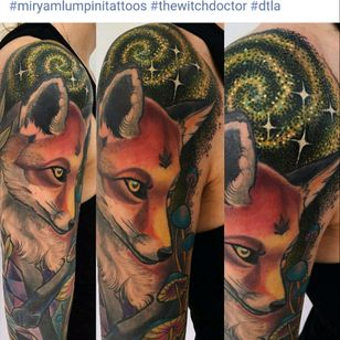 Love the fox and galaxy! Tattoo by Miryam Lumpini. Can we do this Megan style plz! :) #megandreamtattoo