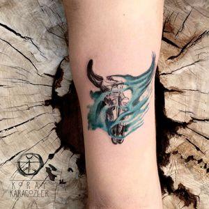 By #koraykaragozler #skull #watercolor #bull #blackwork #watercolortattoo