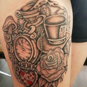 Tamara's Alice in Wonderland. #tribalmike #adelaidetattoos #tattooist #neotat #fantasytattoos