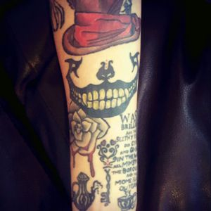 Alice in wonderland peice on my forearm #aliceandwonderlandtattoos #tattooedbabes #forearm #creepy #colofultattoos