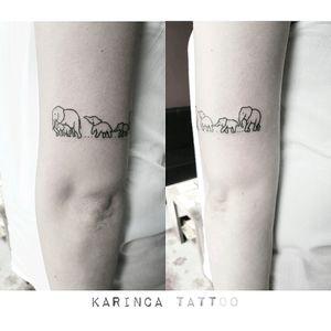 Elephant Family instagram.com/karincatattoo #elephant #elephanttattoo #family #smalltattoos #minimaltattoos #littletattoo