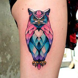By #dustyduza #owl #owltattoo