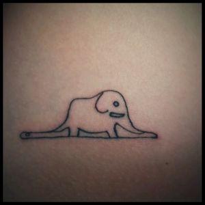 My first #littleprince #principito #blacktattoo #mexicoart #elephant #snake  #hat #line #dan5ink #firsttattoo