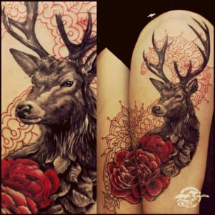 #deer #roses #SnowWhitetattoodo #red #awesome #realistic