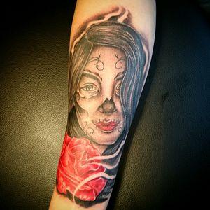 Catrina Face and rose, Black and grey done Whit kaco Tattoo machine. #jairoramirezart #blackandgrey #tattooer #tattoo #tattoos