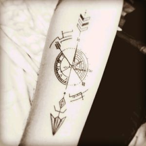 I love you in a place where there is no space no time... #forearm #arrow #clock #compass #arms #time #direction