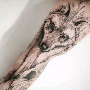 By #VictorMontaghini #wolf #blackwork #dotwork #wolftattoo