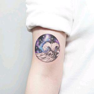 By #tattooistida #waves #space #galaxy #stars