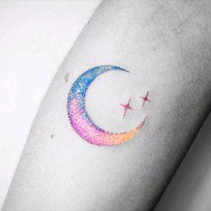 By #VitalyKazantsev  #moon #stars #watercolor #space #dotwork #watercolortattoo