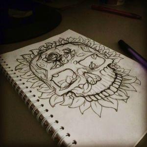 #skull #skech #flowers #pencil #pencilart #roses