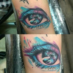 Ayyyy ojonnn!! #eye #ojo #galacticeye #ojogalactico #color #colores #splashcolor #ink #mexicantattooartist #armtattoo