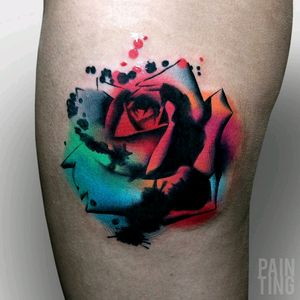 By #SyzmonGdowicz #painting #flower #rose #multicolor
