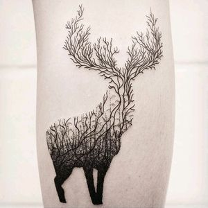 By #whitingtattoos #stag #doubleexposure #branches #dotwork