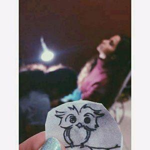 While making this small owl :) instagram.com/karincatattoo