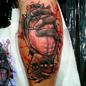 Green Day tattoo in new version :-) By Bartek from Golden Watch Tattoo Kielce, Poland :-) #tattoo #tattoo_artist #tatuaz #grenade #hand #colortattoo #greenday #amiericanidiot #tattooamazing #lovetattoo