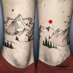 By #MentatGamze #ankle #bracelet #mountains #trees #landscape #dotwork #pinetree