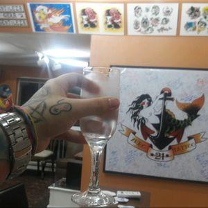 Me drinking some water in my shop, @Zero21TattooStudio