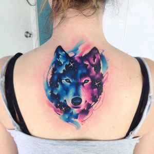 By #AdrianBascur #watercolor #wolf #galaxy #space #watercolortattoo #wolftattoo #stars