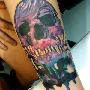 #skull #melting #coverup #creepy #womenwithtattoos #audaciousink #skulls #skullart #dead