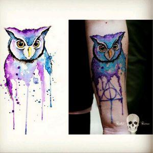 Hedwig from Harry Potter #watercolor #splash #owl #harrypotter #hedwig #deathlyhallows #always