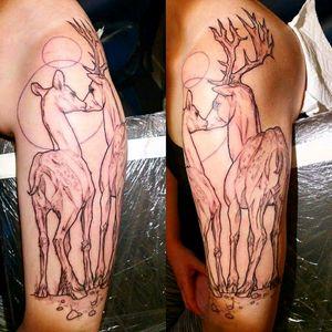 My spirit animal Freehand by @sas_ink on Instagram #deer #spiritanimal #stag #cute #feminine #linetattoo