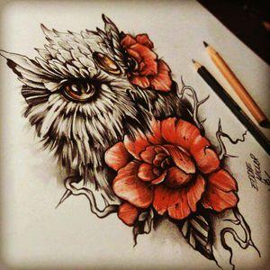 Beautiful Owl #owls #flower #rose