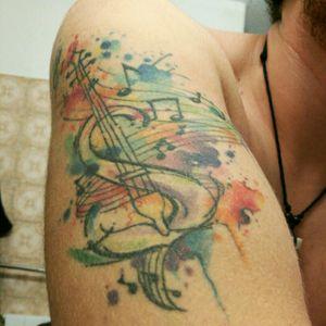 #watercolor #tattoo #musictattoo #violin #javiwolf #acuarela #amazing #notes#armtattoo
