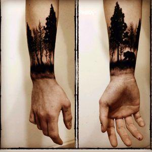 Nature wrap around design. Complete blackout tattoo! #nature #blacktattoo #wrist #forearm