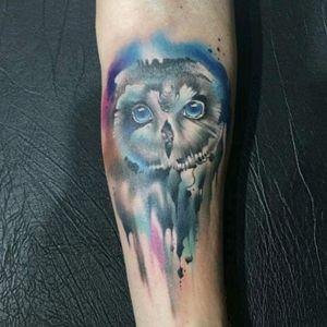 Owl tattoo by @vareta . Tattooed: @wlaguna Made in @Zero21TattooStudio  #owl #coruja #aquarela #watercolor