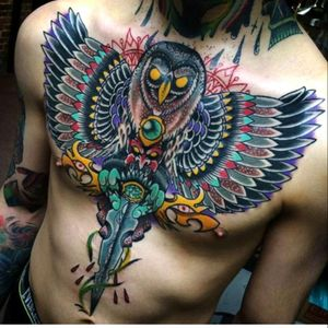 Dope Owl tattoo done by @MiguelLepage #neotradtional #owl #art
